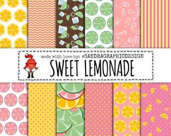 "Lemonade digital paper: ""LEMONADE PAPER"" yellow, pink, green, lemonade, icecube, stripes, dots patterns (1193)"