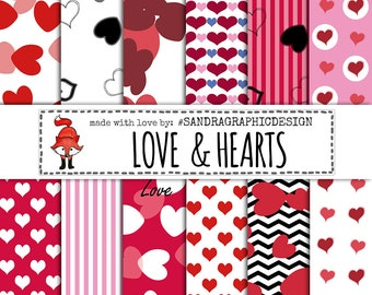 "Digital paper ""HEARTS PATTERNS""  with beautiful hearts in red and pink colors (1127)"