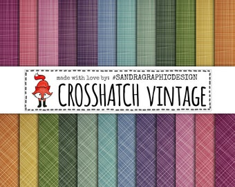 "Digital paper: ""CROSSHATCH PAPERS"" with stripes crosshatch patterns in vintage colors (1122"