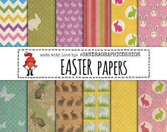 "Easter digital paper: ""EASTER BUNNIES"" with bunnies patterns background paper in various colors (1050)"