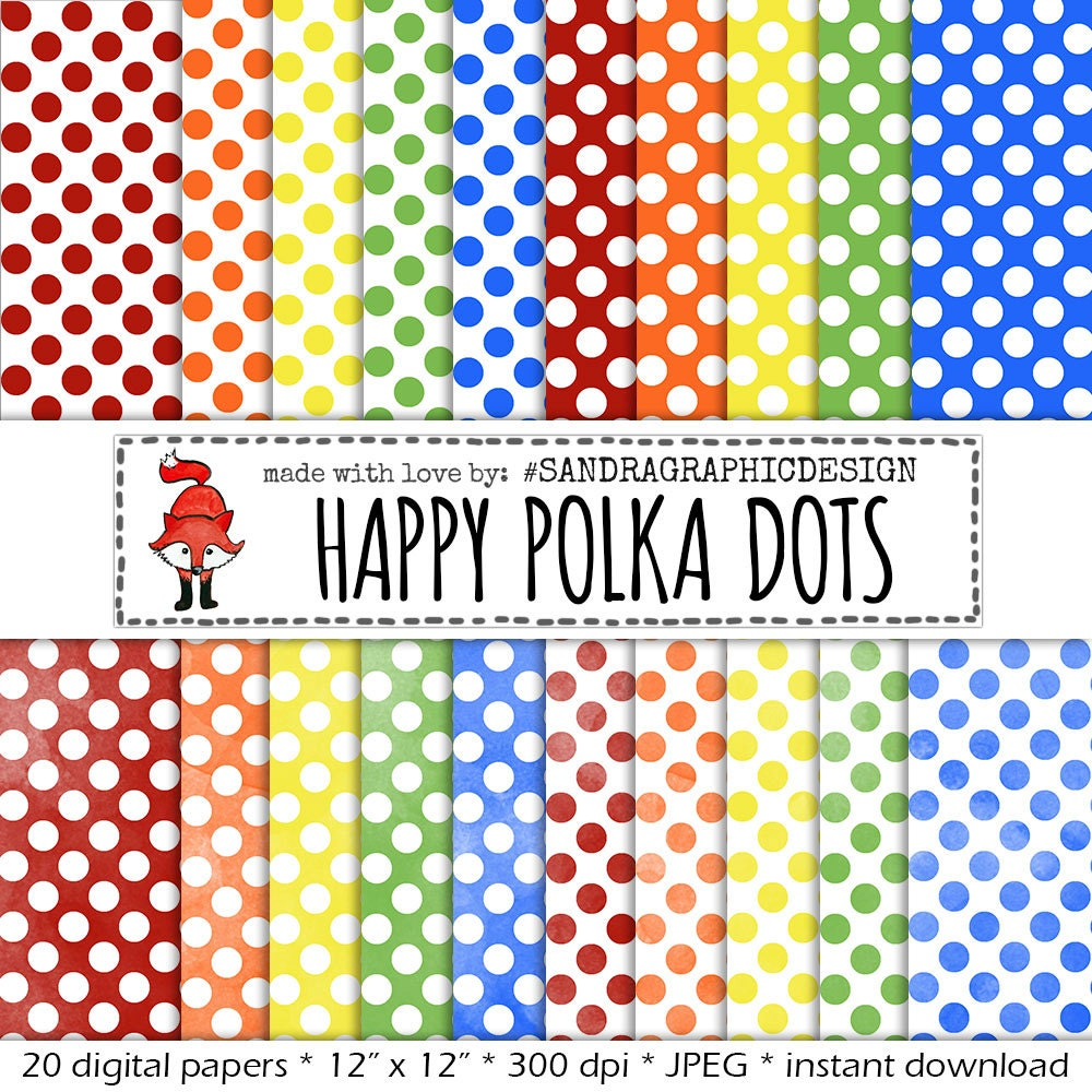 Polka Dot Digital Paper SESAMESTREET With Backgrounds In Sesamestreet Colors Red Orange Yellow Green And Blue 523
