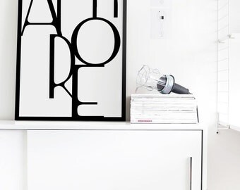Printable Amore print, Romantic Print, Scandinavian Design, Italian Poster, Digital Download, Typographic Print, Instant Download