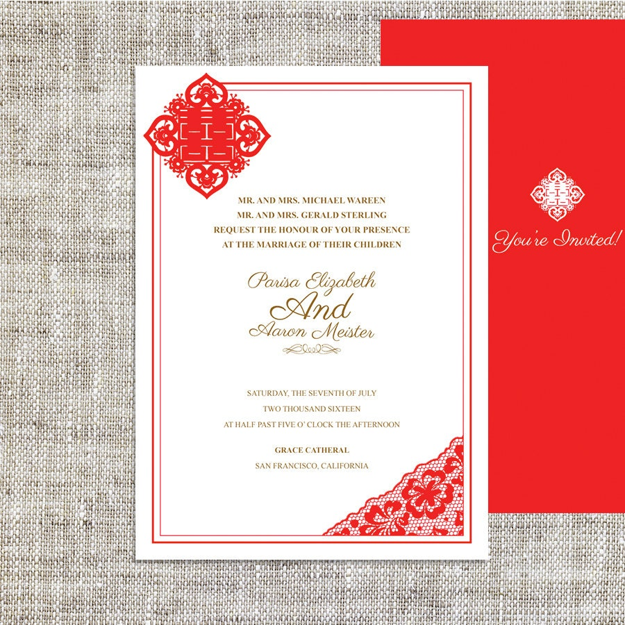Diy printable chinese wedding celebration invitation by imleaf for Chinese wedding invitations etsy