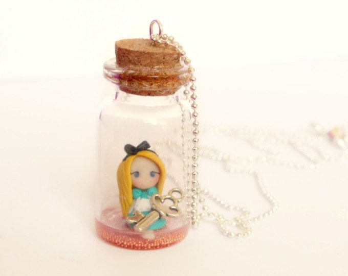 Alice in Wonderland. Bottle necklace, Alice in the bottle. Silver chain. Handmade polymer clay.