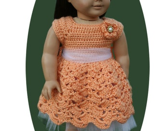 Peach Tumbling Scallops Crocheted dress fits American girl and other 18 inch dolls