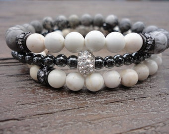 Gemstone Stacking Bracelets/ White Turquoise/Scenery Jasper/Hematite/Cz's/Austrian Crystals/Black/White/Gray/Fancy Boho/Neutral Stack