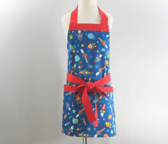 childrens rocket ship apron boys blue apron by stitchedbybeverly. Black Bedroom Furniture Sets. Home Design Ideas