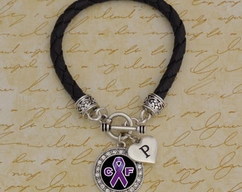 Custom Initial Cystic Fibrosis Leather Bracelet