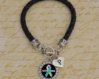 Custom Initial Hypotonia Leather Bracelet