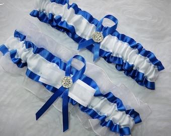 White and Blue Garter Set, Blue and White Garter Set, Something Blue Garter, Prom Garter, Organza Garter, Bridal Garter, Wedding Garter