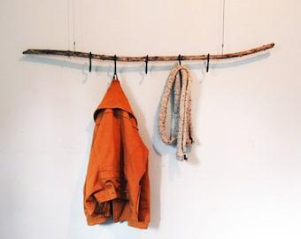 Coat hanger set - hanging clothing rack - forged iron steel - handmade home decor - hallway hooks -clothing coat storage - nature decor hall