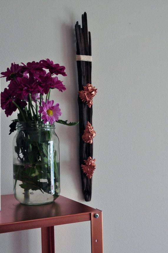 Copper Wall Art Home Decor ~ Handmade copper shell driftwood art wall hanging home
