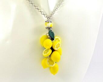 Lemon Necklace - Polymer clay jewelry  - Gift for girlfriend  - Handmade jewelry  - Yellow citrus jewellery - Fruit pendant