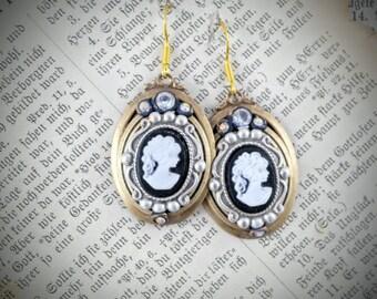 cameo earrings black white cameo earrings dangle earrings vintage style earrings victorian earrings cameo jewelry vintage style jewelry