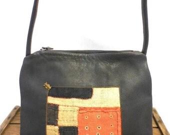 Aranibar Vintage Straw Patchwork Fiber Art Brown Leather Hobo Bag Shoulder Purse