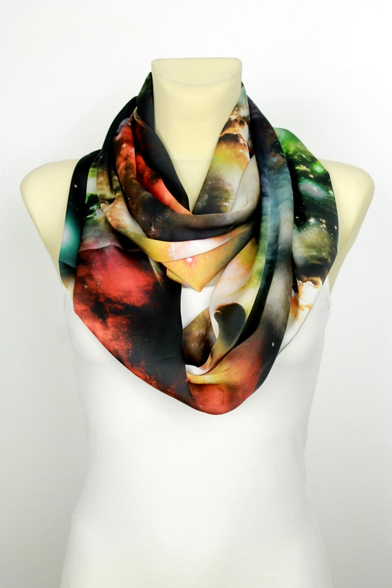 Space Infinity Scarf Galaxy Print Scarf Geometric Fabric Scarf Satin Silk Women Fashion Accessories Gift Women Summer Outdoors Summer Party