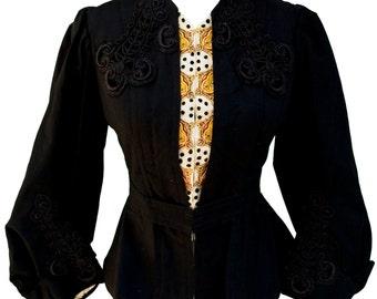 1900s Small Jacket Victorian Edwardian Formal Mourning Steampunk Ornate Embroidered Jane Austen Black Boho Bohemian Dracula Gothic 1890 1880