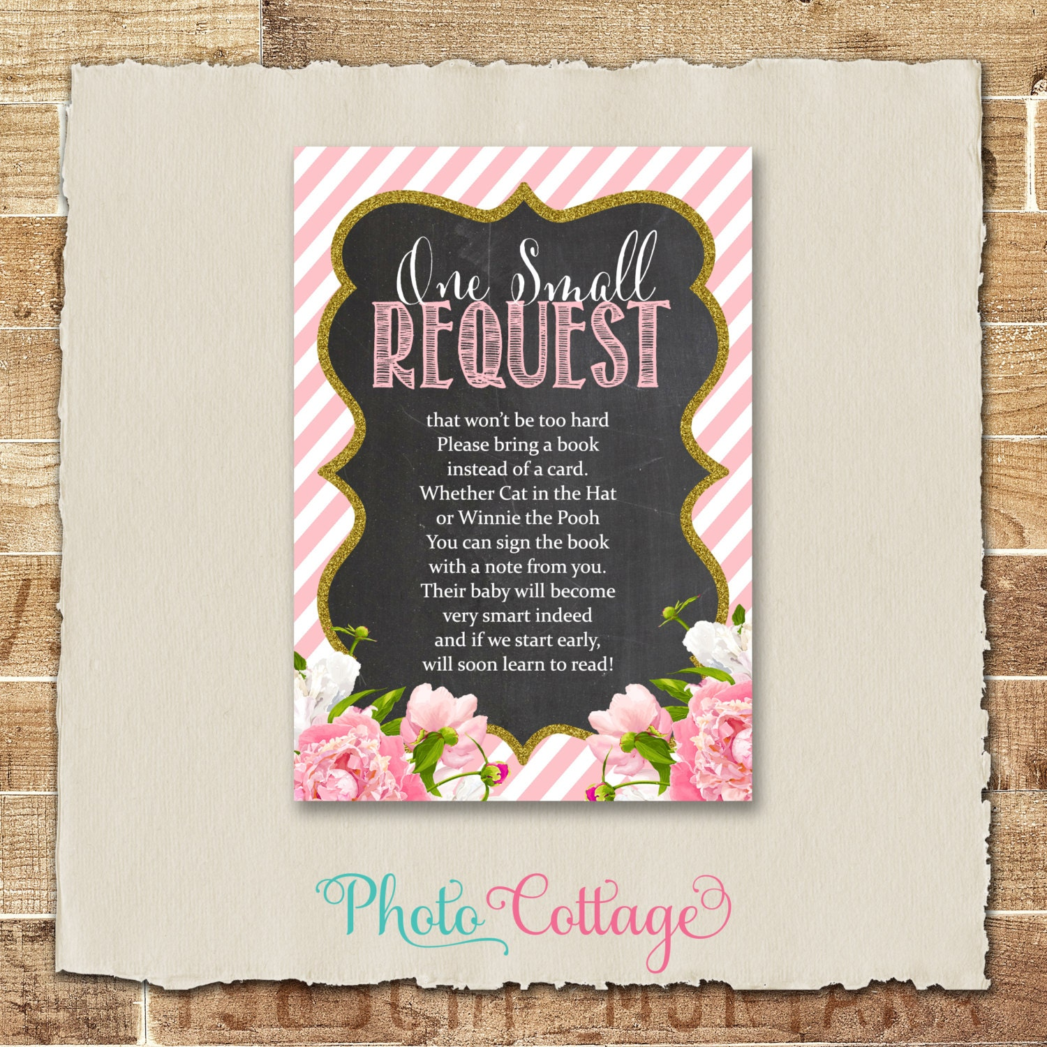 Book Request Cards e Small Request Card Baby Shower Book