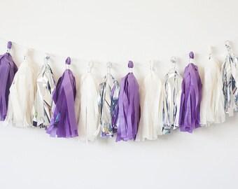 Ivory, Silver, Purple Tassel Garland