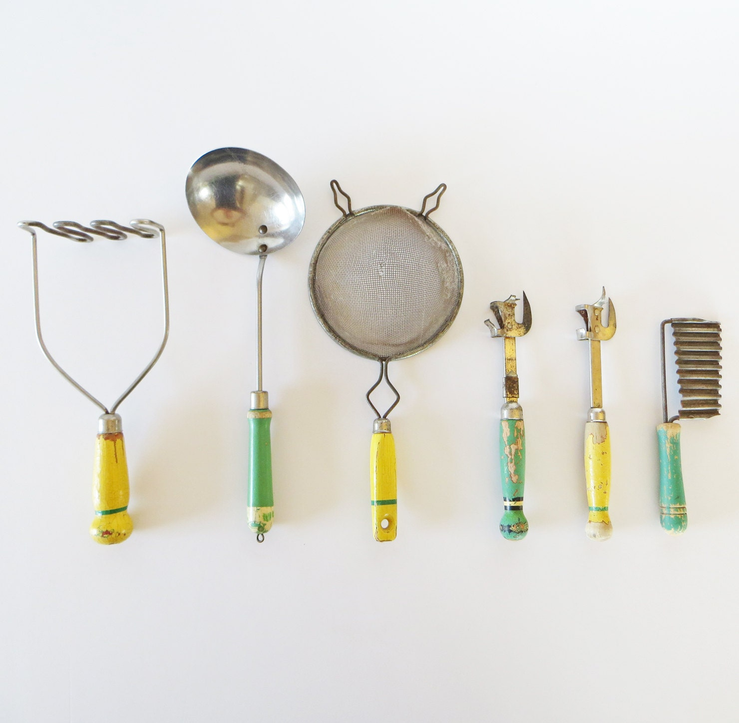 Vintage Kitchen Utensil Collection Yellow By