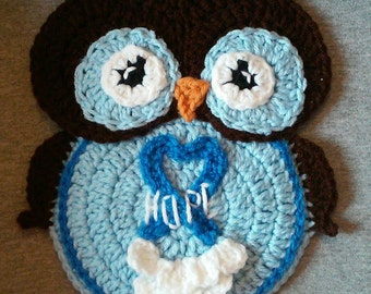 Crochet Cancer Ribbon Owl Potholder Pattern Only