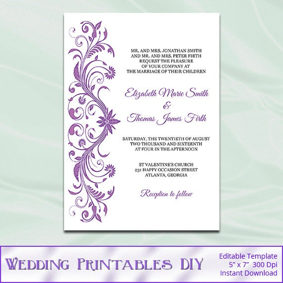 Wisteria Colored Wedding Invitations – Mini Bridal