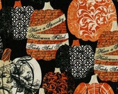Black Decorative Pumpkin Fabric Yardage. Wicked Collection Timeless Treasures.  Halloween Holiday Pumpkin Cotton Quilt Fabric Yardage.