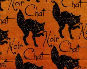 Halloween Black Cat - Orange Chat Noir Fabric Yardage. Wicked Collection Timeless Treasures. Black Cat  Quilt and Holiday Decor Fabric