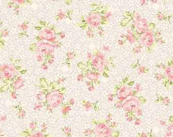 Pink Petal Heirloom Fabric-Romance-Benartex-Cotton Floral Quilt Fabric-Pink Floral Fabric-Cottage Chic Fabric-Floral Quilt Fabric-Quilting