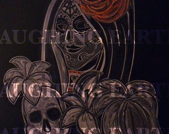 Chalkboard Day of the Dead girl