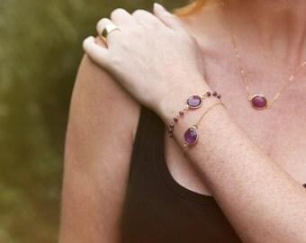 Amethyst Drop bracelet with beaded accents // bezel bracelet