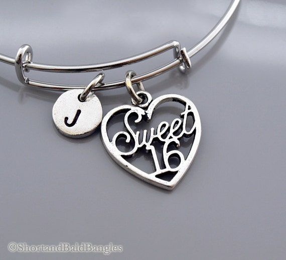 Sweet 16 Charm Bracelet: Sweet 16 Bangle Sweet 16 Bracelet Sweet By ShortandBaldBangles