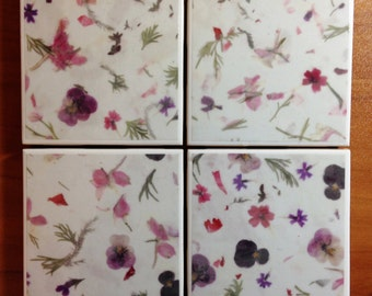 Floral Ceramic Coasters - set of Four