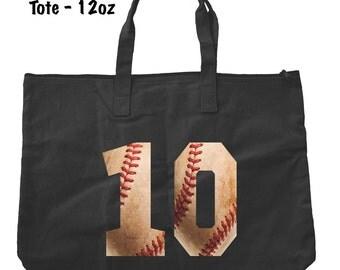 Baseball Numbers Tote Bag - Baseball Tote Bag - Baseball Present - Personalized Tote Bag - Custom Baseball Bag - Baseball Mom
