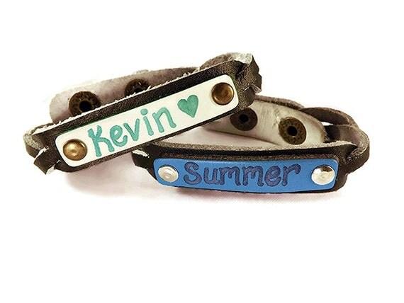 leather engraved name bracelet personalized custom