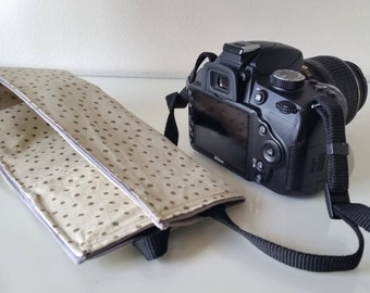 Cream Polka Dot Camera Strap Cover with lens cap pocket