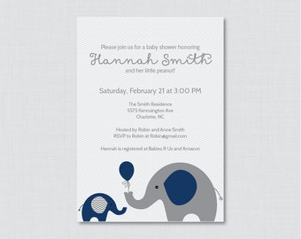 Elephant Baby Shower Invitation Printable Invite - Elephant Baby Shower Invites in Navy Blue and Gray and Subtle Chevron Baby Boy - 0024-N
