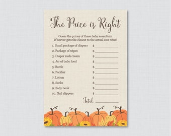 Pumpkin Baby Shower Price is Right Game - Printable Little Pumpkin Baby Shower Game Instant Download - Fall Baby Price is Right - 0032