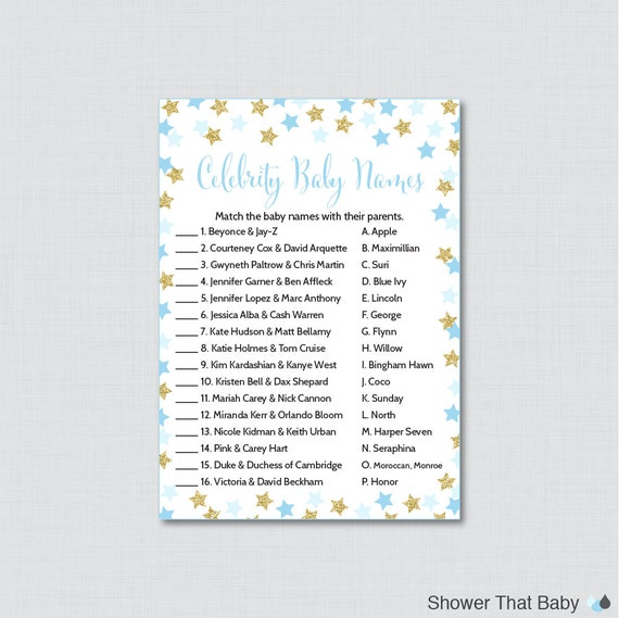 star baby shower celebrity baby name game celebrity baby name match