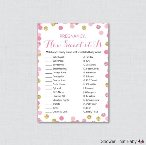 Sweet Sweet Baby Baby Shower Game: Pink And Gold Baby Shower Pregnancy How Sweet It Is Game
