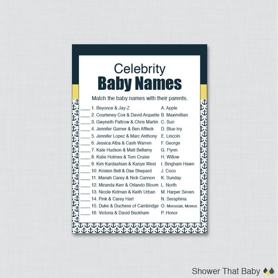 celebrity baby shower game nautical baby shower celebrity name match