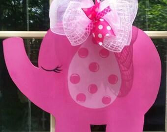Elephant Door Hanger. Its a Girl Door Hanger. Baby Shower Door Hanger. Nursery Decoration