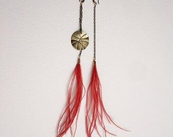 Feather earrings - Tribal earrings- Hippie earrings- Feather jewelry - Boho earrings -Asymmetric African earrings- summer earrings