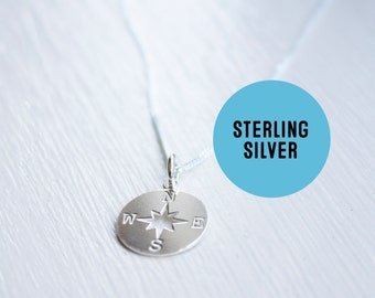 Sterling silver Compass Necklace - Tiny sterling compass charm pendant - Wanderlust necklace.