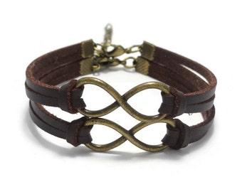 Couple Infinity Bracelet, Matching Bracelets, Friendship Bracelet, Leather Bracelet, Best Friends Bracelets, Couple Gift, His and Hers