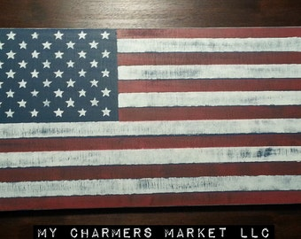Price Includes Shipping, American Flag Sign, Distressed American Flag Art, Red White & Blue, Stars and Stripes, America, Independence Day