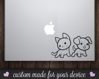 Cat & Dog Vinyl Decal Sticker - Animal Lovers!  Cat and Dog Decal!  Macbook Decal, Car Decal, Car Sticker, iPad Skin, iPhone Skin