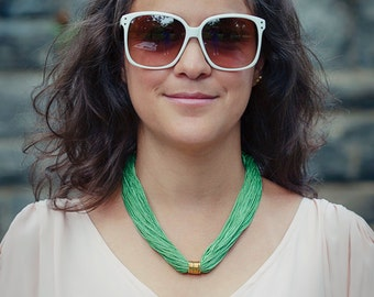 Green Statement Necklace, Green Necklace, Statement Necklace, Green Statement, Fringe Necklace, Green Choker Necklace, Green Jewelry