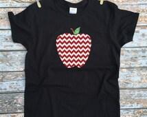 Chevron Apple Shirt - Teacher's Gift / Kindergarten Teacher Shirt / Apple Chevron Black Tshirt / Kids First Grade Outfit / Toddler Clothes