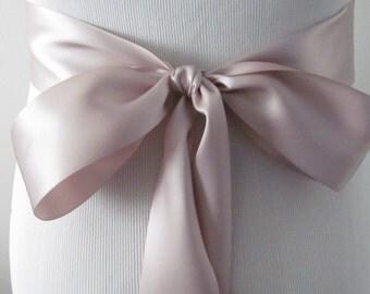 Taupe Ribbon Sash / Double Faced Ribbon Sash / Bridal Sash / Bridal Ribbon / Taupe